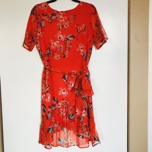 A New Day Orange Floral Dress with Tie size XS